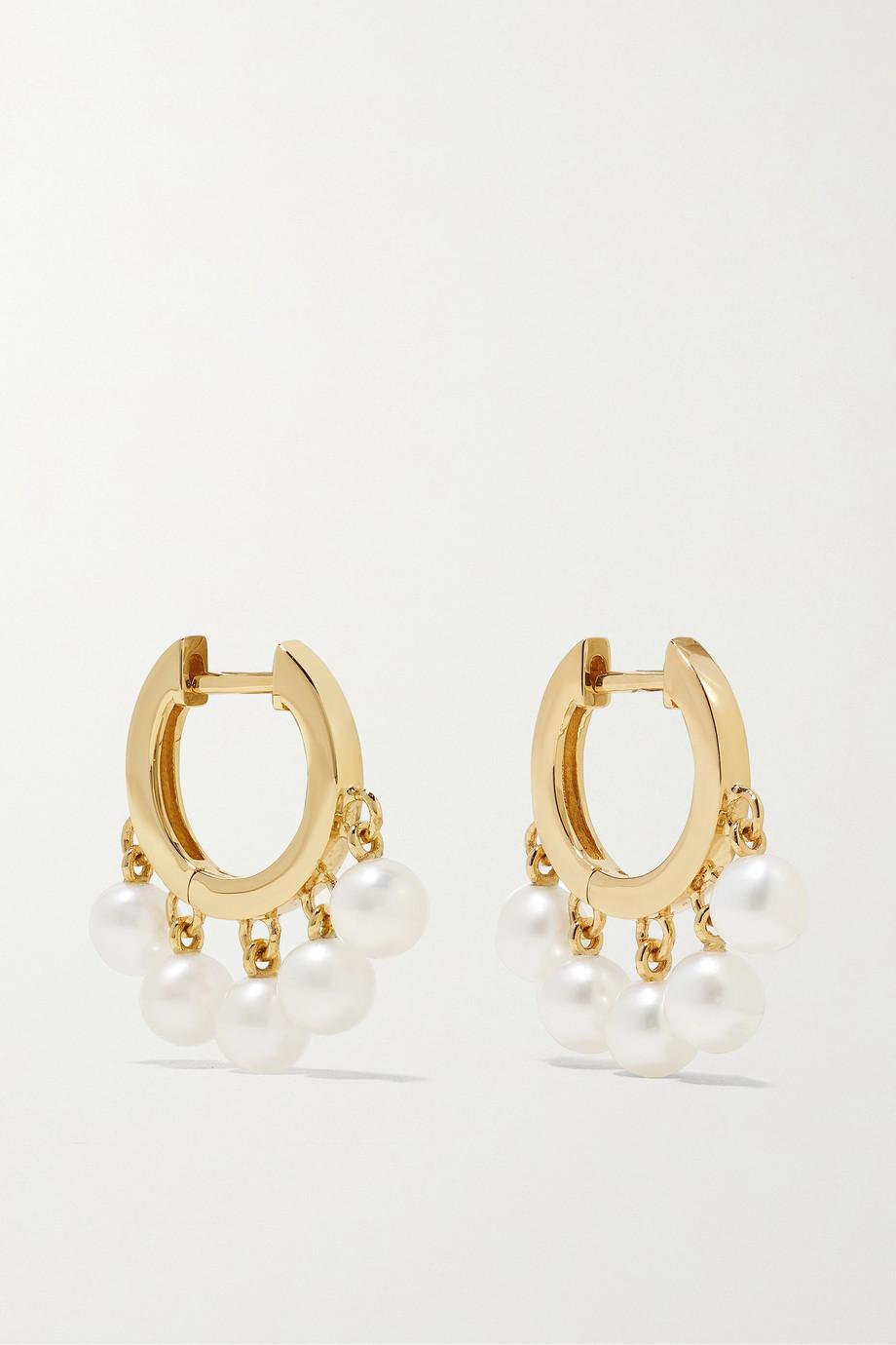 Sydney Evan Huggie 14-karat gold pearl hoop earrings