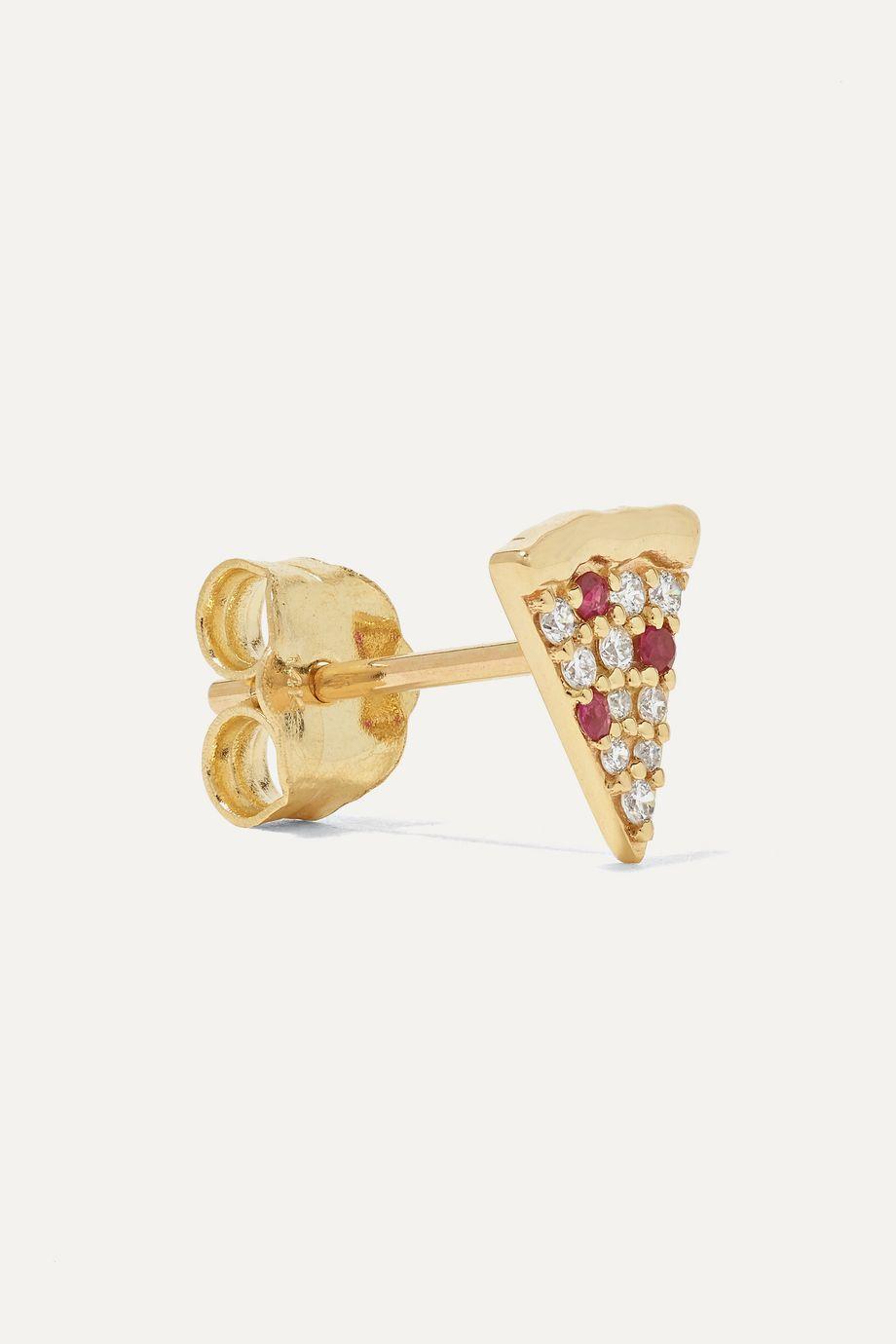 Sydney Evan 14-karat gold, diamond and ruby earrings