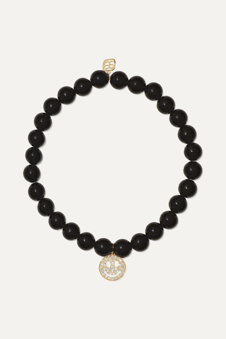 Sydney Evan Happy Face 14-karat gold, onyx and diamond bracelet