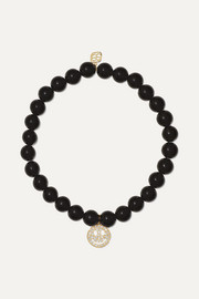 Happy Face 14-karat gold, onyx and diamond bracelet