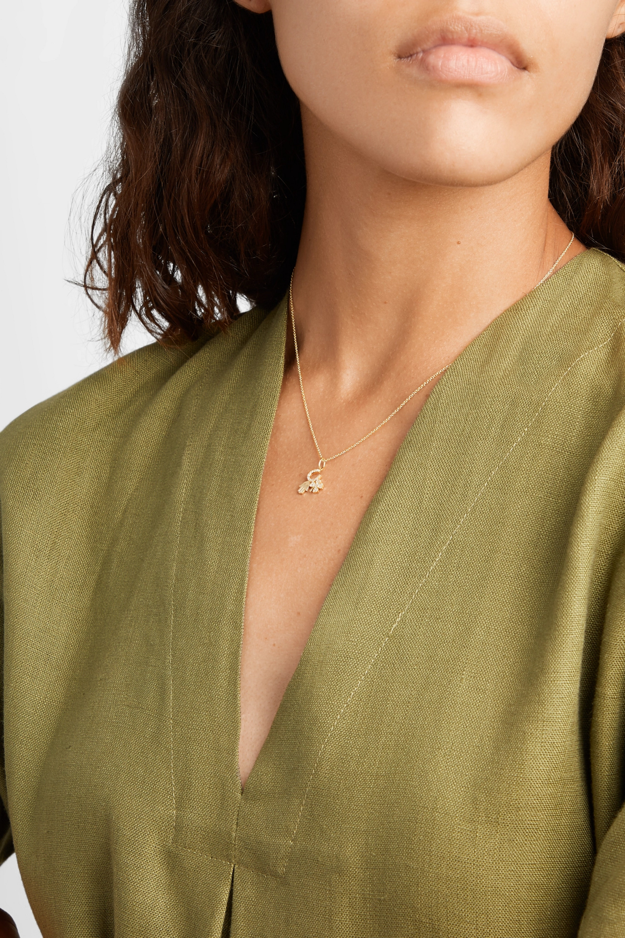 Sydney Evan Luck and Protection 14-karat gold diamond necklace