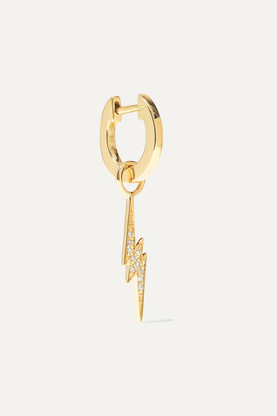 Sydney Evan Lightening Bolt 14-karat gold diamond hoop earring