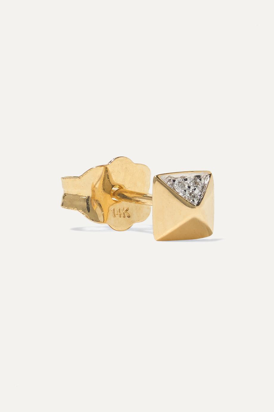 Sydney Evan Mini Pyramid 14-karat gold diamond earrings