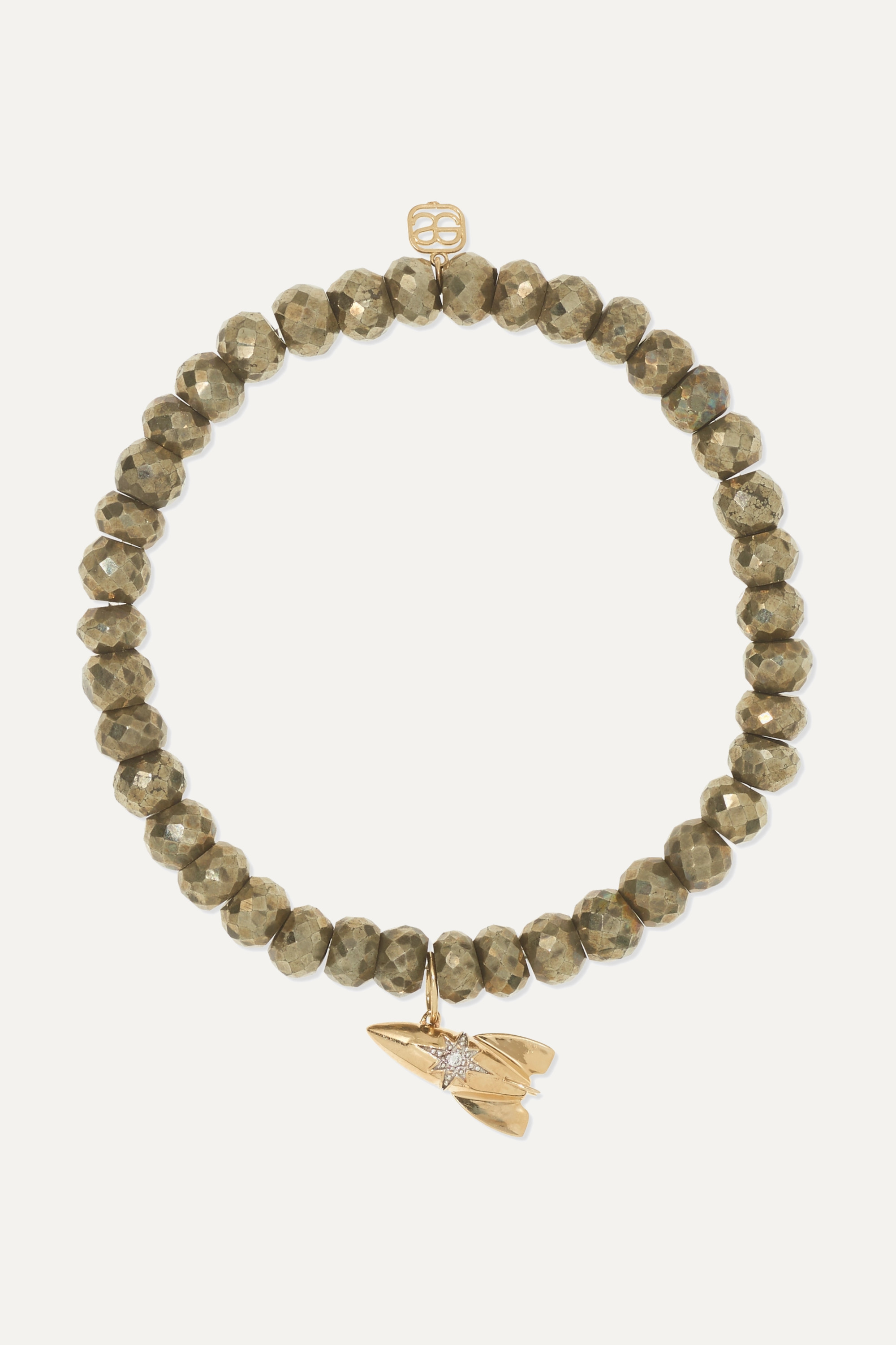 Sydney Evan Rocket 14-karat gold, pyrite and diamond bracelet