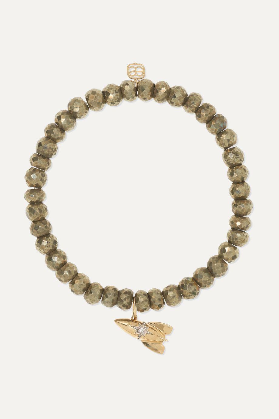 Sydney Evan Rocket 14-karat gold, pyrite and diamond bracelet