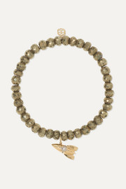 Rocket 14-karat gold, pyrite and diamond bracelet