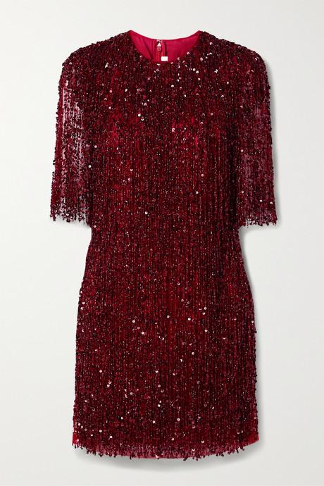 Claret Embellished fringed tulle mini dress   Naeem Khan 2Bg3aL