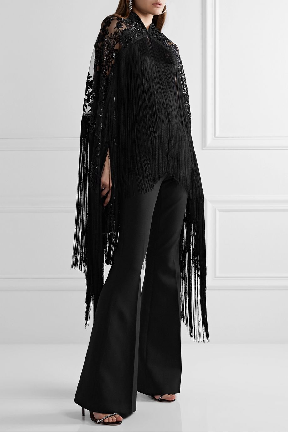 Naeem Khan Fringed embellished embroidered tulle cape