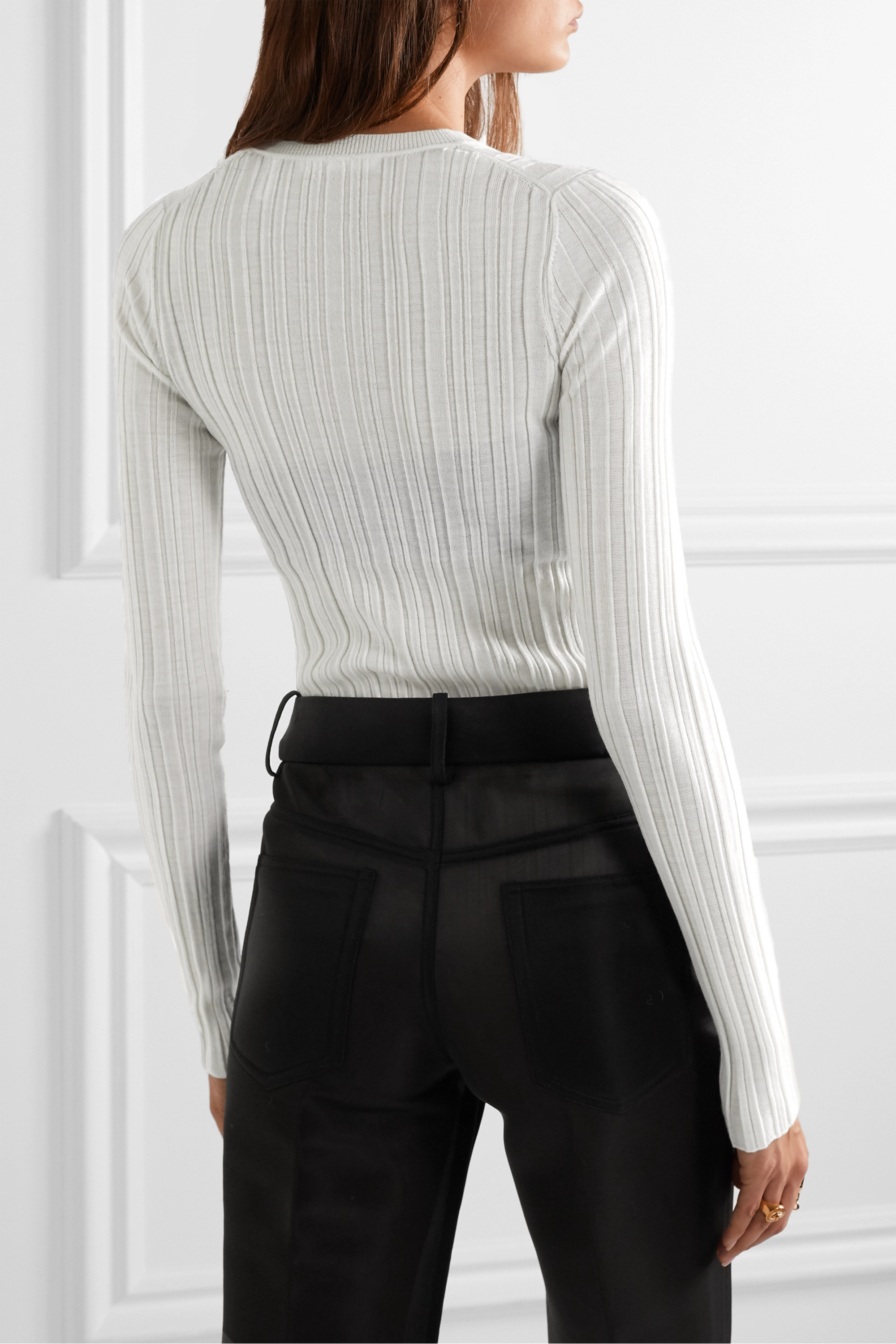 Helmut Lang Ribbed merino wool top