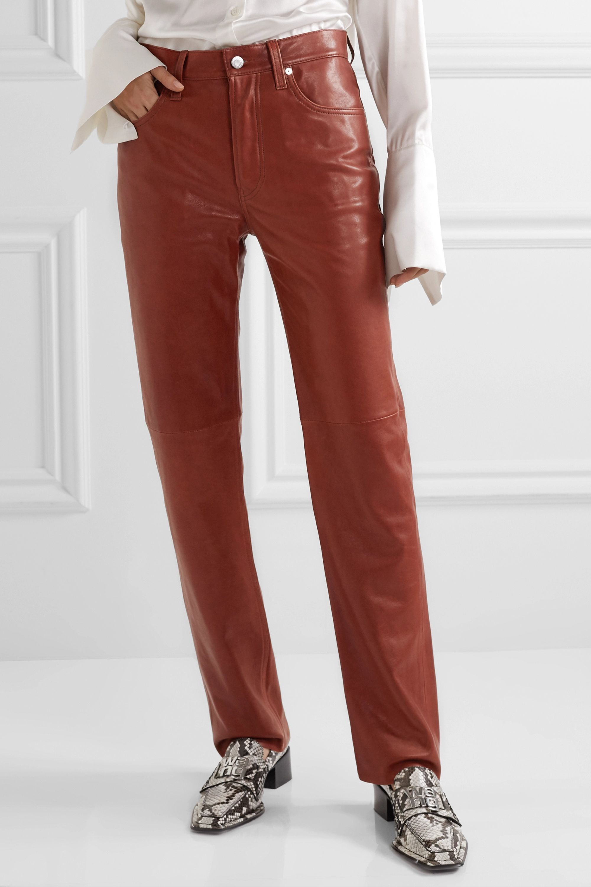 Helmut Lang Leather straight-leg pants
