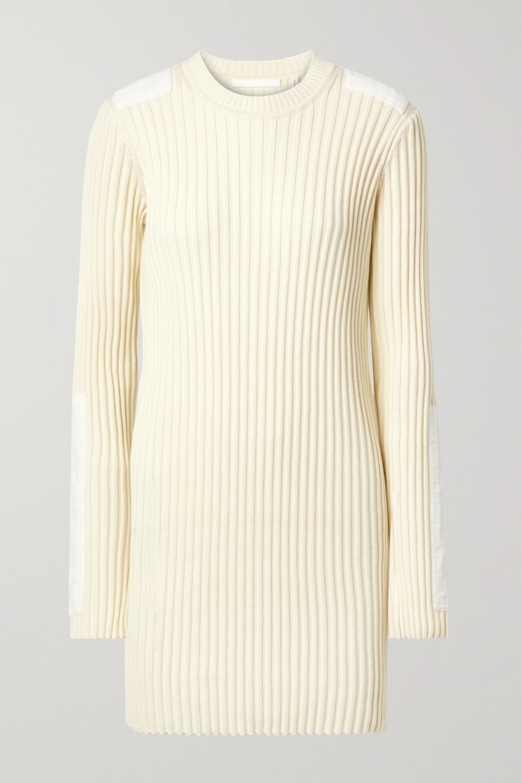 Helmut Lang Velvet-trimmed ribbed cotton and cashmere-blend mini dress