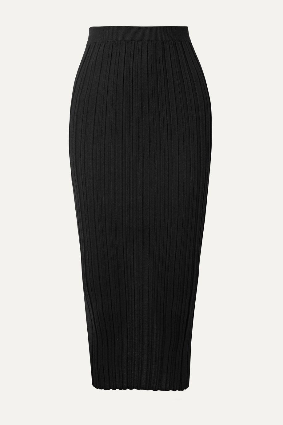 Helmut Lang 罗纹美利奴羊毛混纺中长半身裙