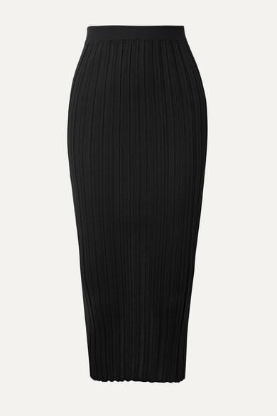 Helmut Lang Skirts Ribbed merino wool-blend midi skirt