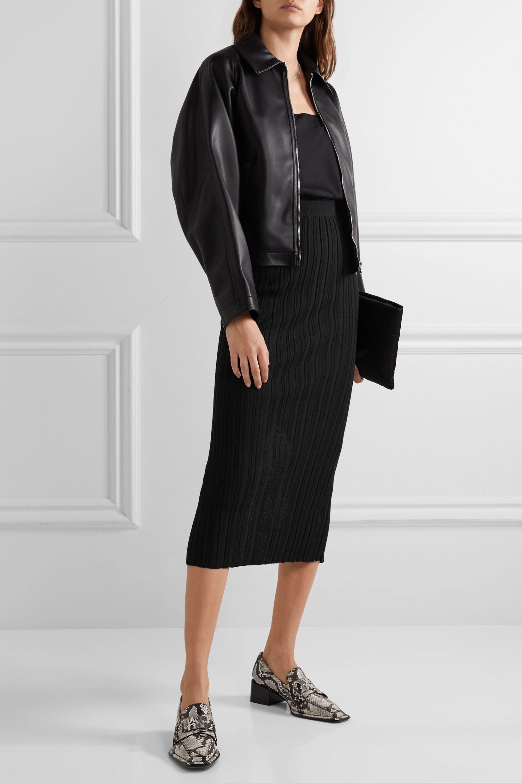 Helmut Lang Ribbed merino wool-blend midi skirt