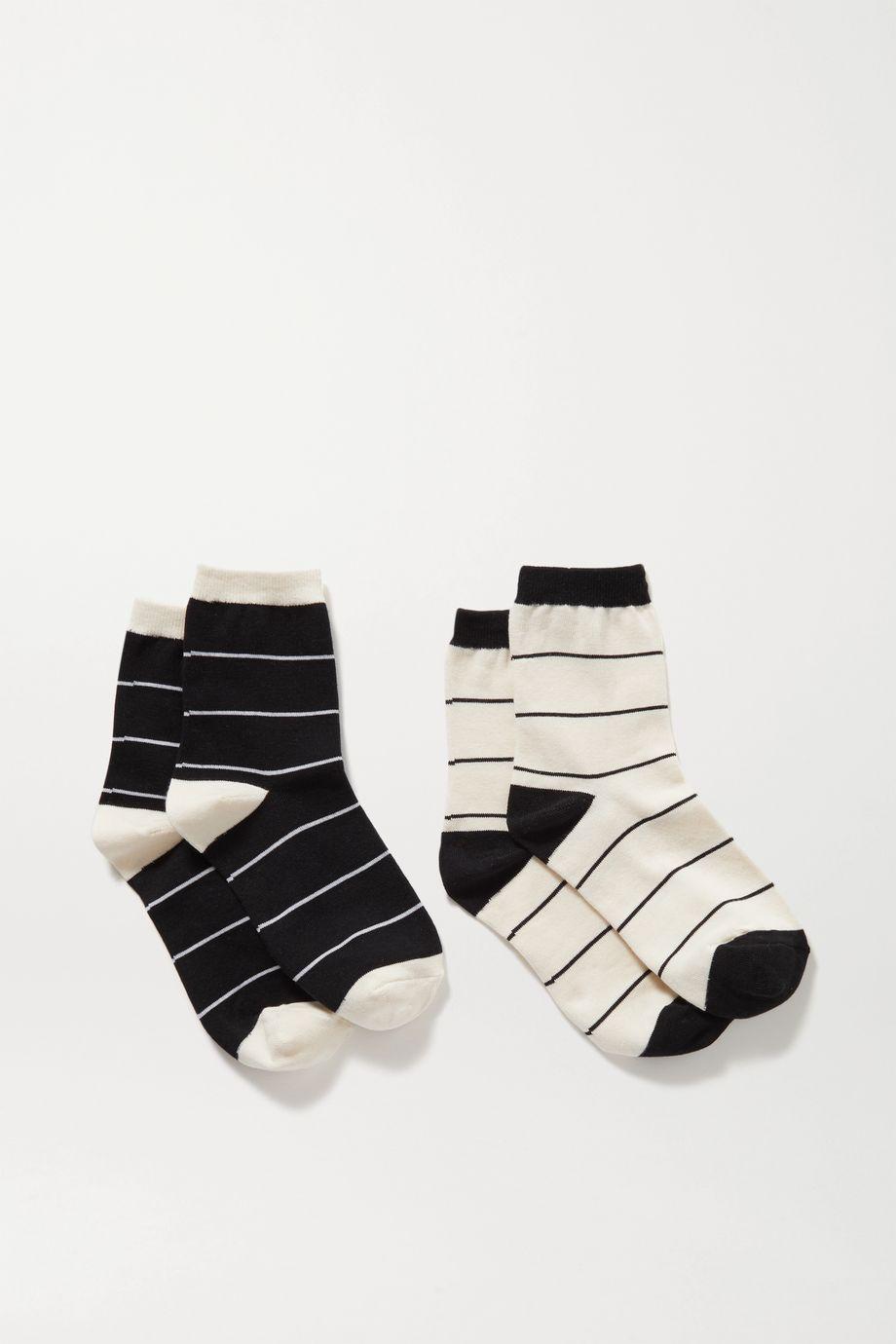 LESET Kelly set of two striped stretch-knit socks