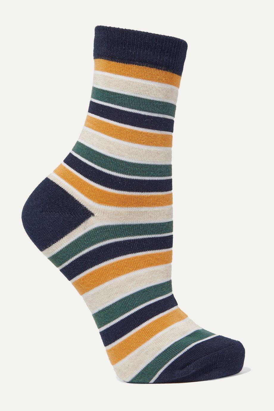 LESET Harley striped stretch-jersey socks