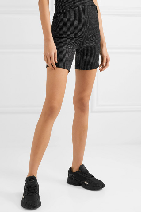 Sasha metallic striped stretch-knit shorts