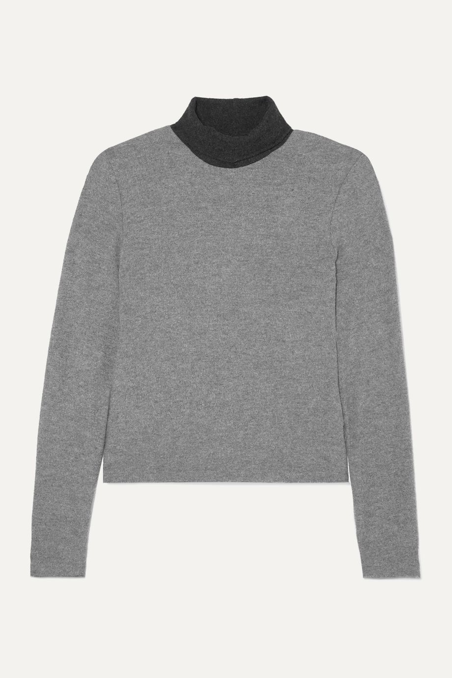 LESET Lori two-tone brushed stretch-knit turtleneck sweater