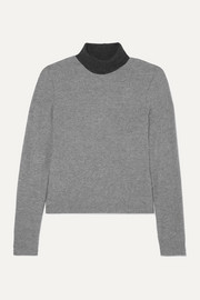 Lori two-tone brushed stretch-jersey turtleneck sweater