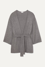 Lori belted brushed stretch-jersey cardigan