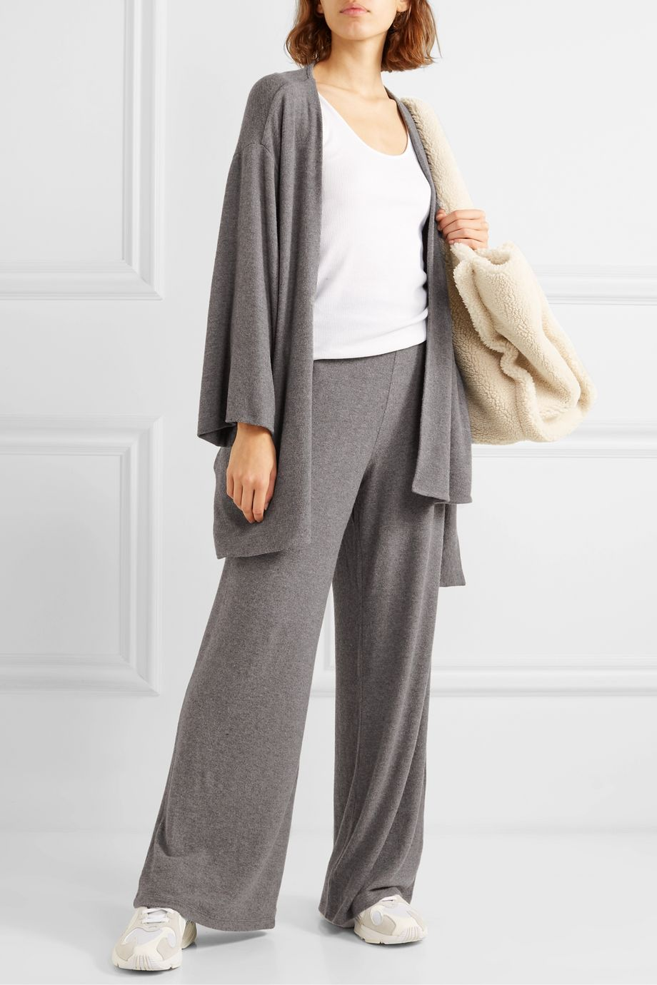 LESET Lori belted brushed stretch-knit cardigan