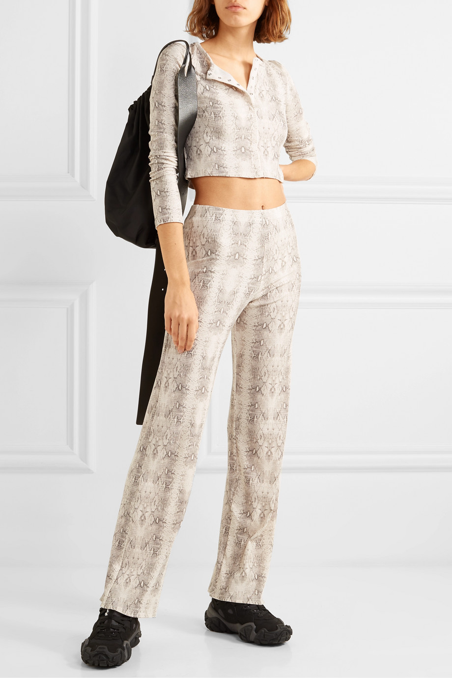 LESET Sophia cropped snake-print ribbed stretch-modal cardigan