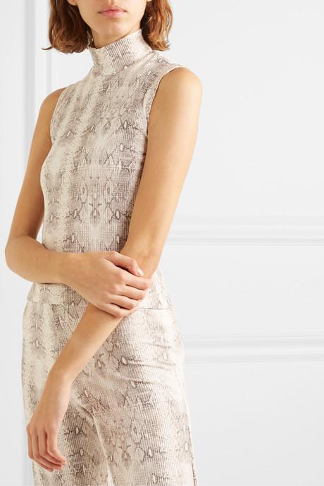 Sophia snake-print ribbed stretch-modal turtleneck top