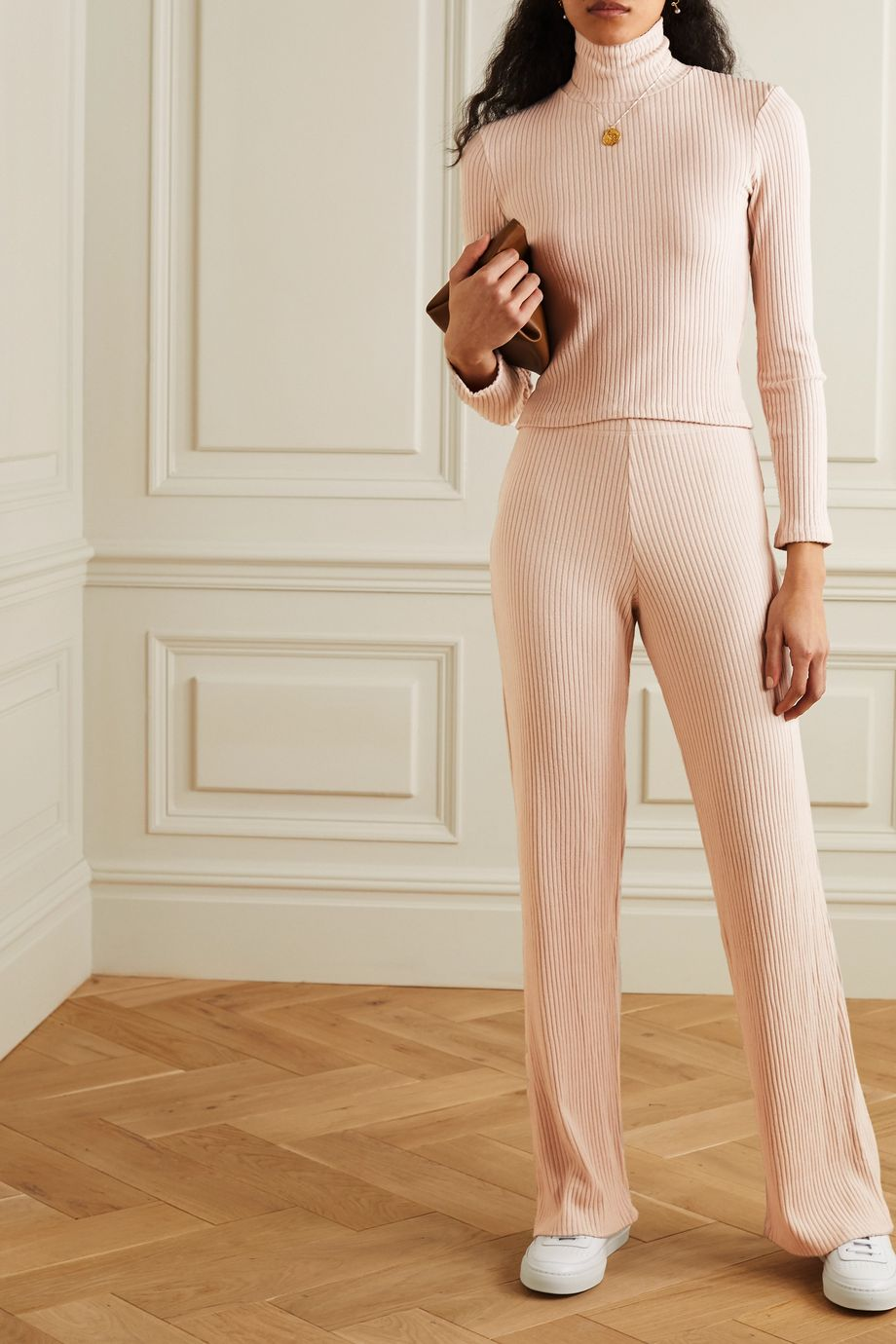 LESET Alison ribbed stretch-jersey pants