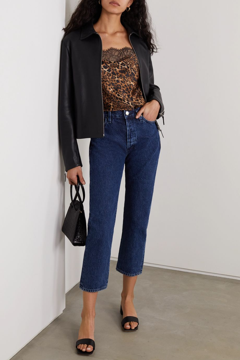 Cami NYC The Romy lace-trimmed leopard-print stretch-silk charmeuse and jersey bodysuit