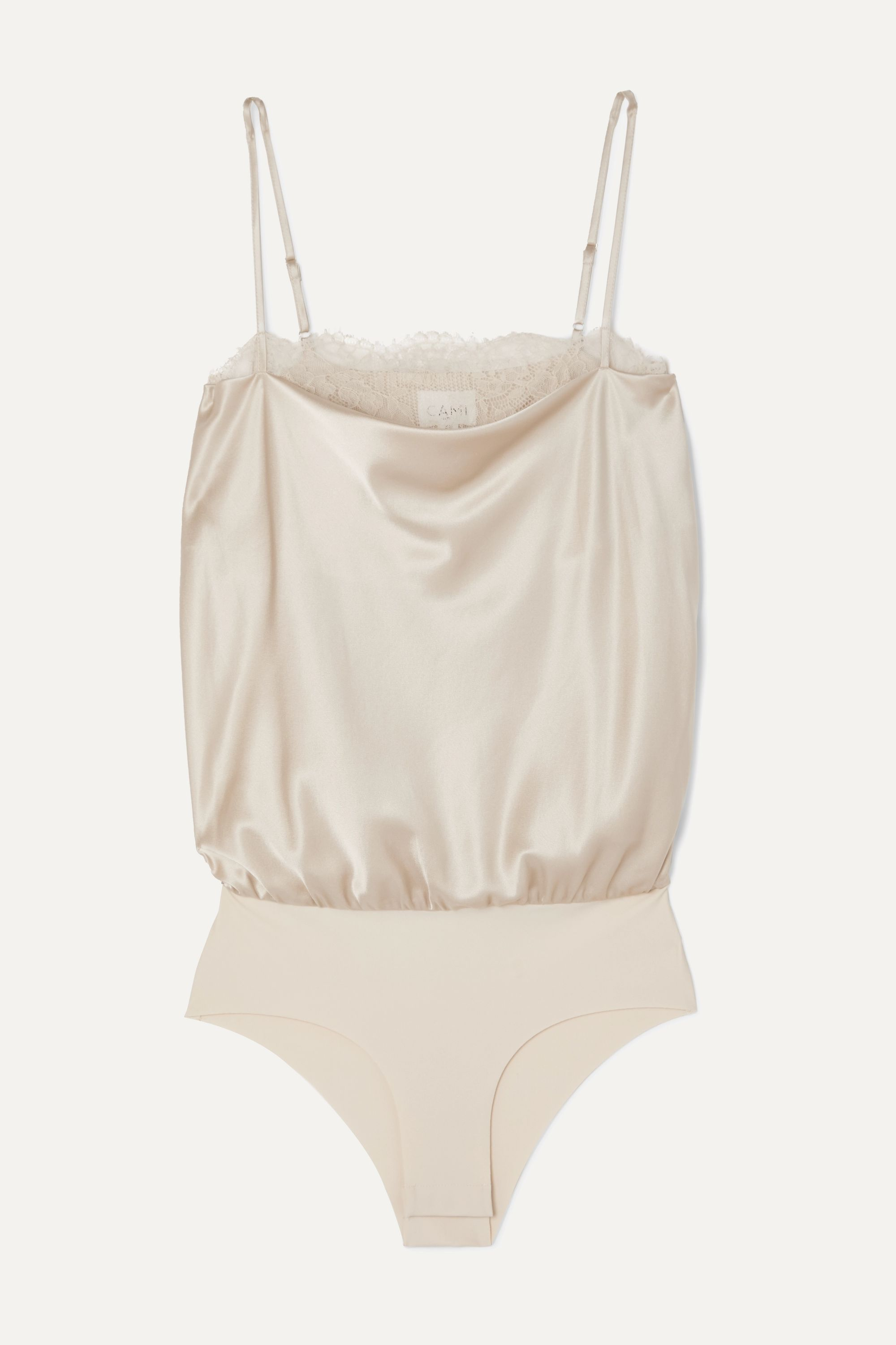 Cami NYC The Romy lace-trimmed stretch-silk charmeuse and jersey bodysuit