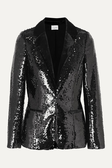 The Lennon Velvet Trimmed Sequined Crepe Blazer by Cami Nyc