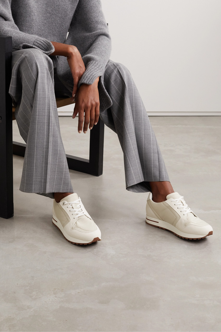 Loro Piana My Wind shell, suede and leather sneakers