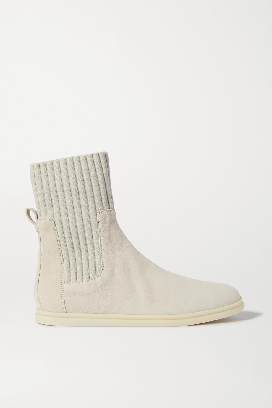 Loro Piana Cocoon suede and ribbed wool ankle boots