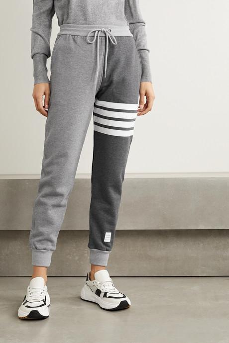 Color-block cotton-jersey track pants