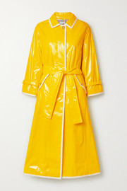 Thom Browne Belted glossed-PU trench coat
