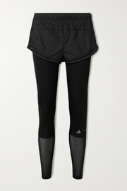 adidas by Stella McCartney Essentials layered mesh-trimmed shell and stretch leggings
