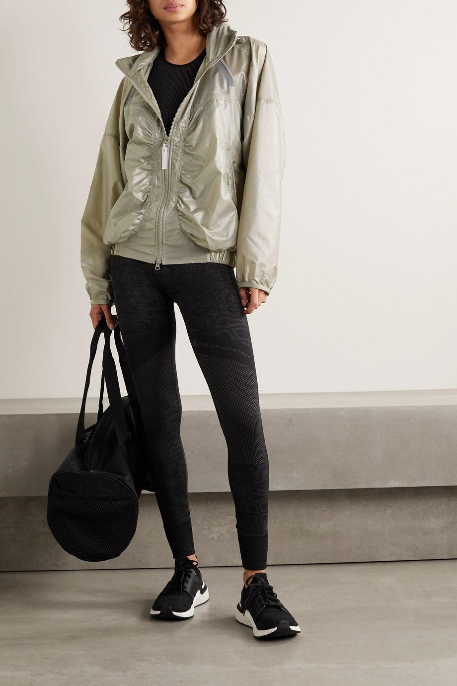 adidas by Stella McCartney Oversized hooded gathered shell jacket