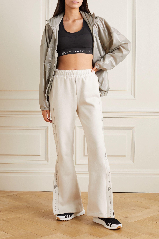 adidas by Stella McCartney Image printed organic cotton-jersey flared track pants