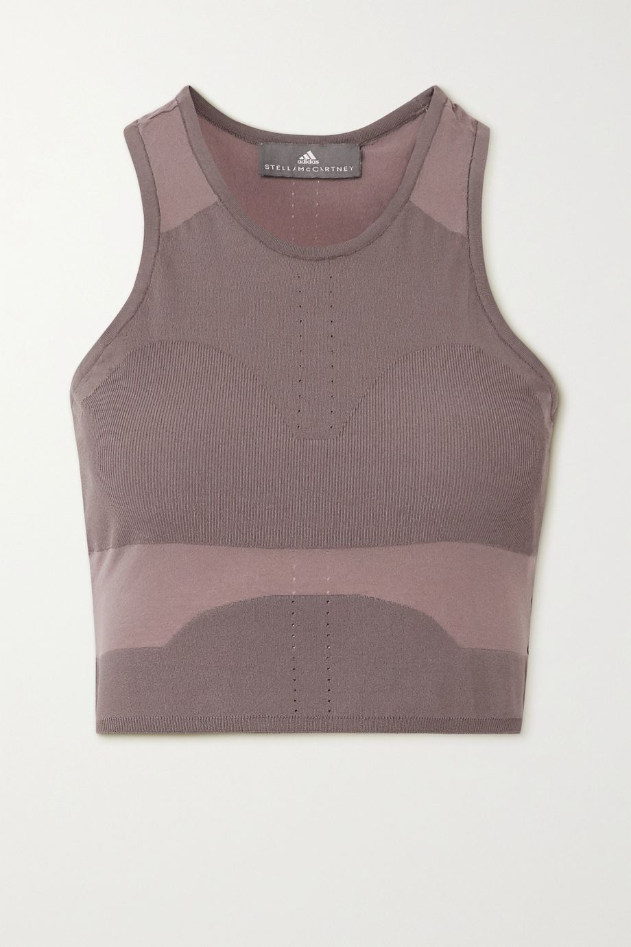 adidas by Stella McCartney Cropped seamless perforated stretch-knit tank