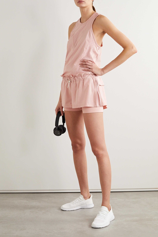 adidas by Stella McCartney Ruffled stretch-jersey and shell shorts