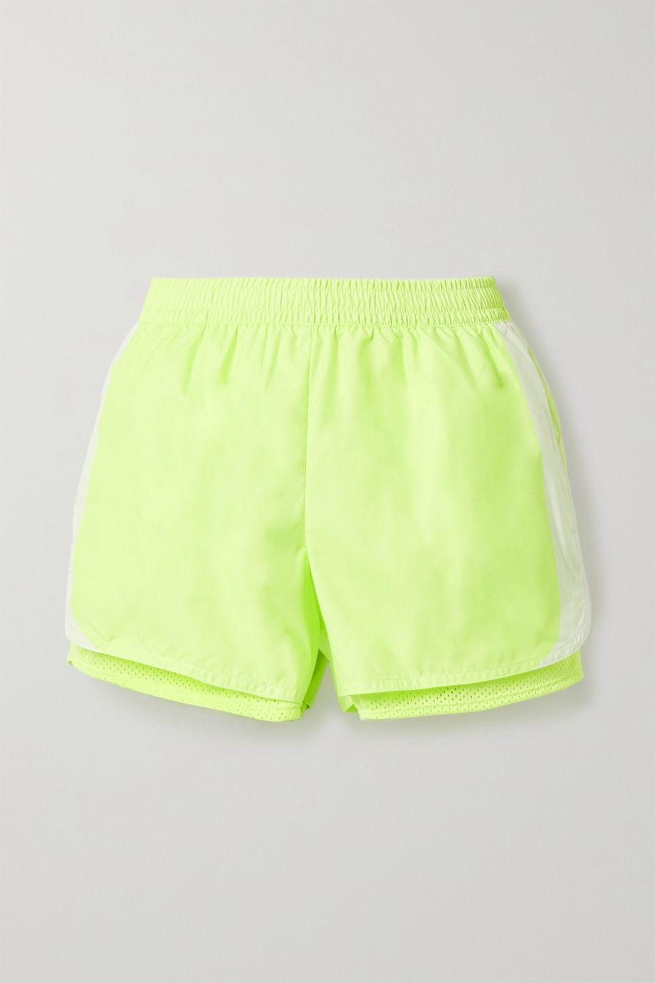 adidas by Stella McCartney M20 neon layered shell and mesh shorts