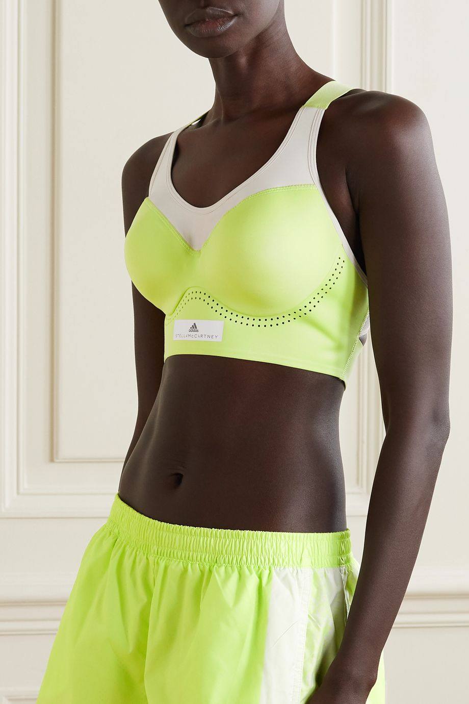 adidas by Stella McCartney Neon perforated stretch sports bra