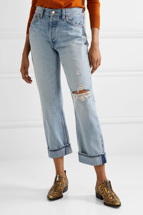 90s cropped distressed high-rise straight-leg jeans
