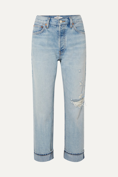 Re/done Jeans 90S CROPPED DISTRESSED HIGH-RISE STRAIGHT-LEG JEANS