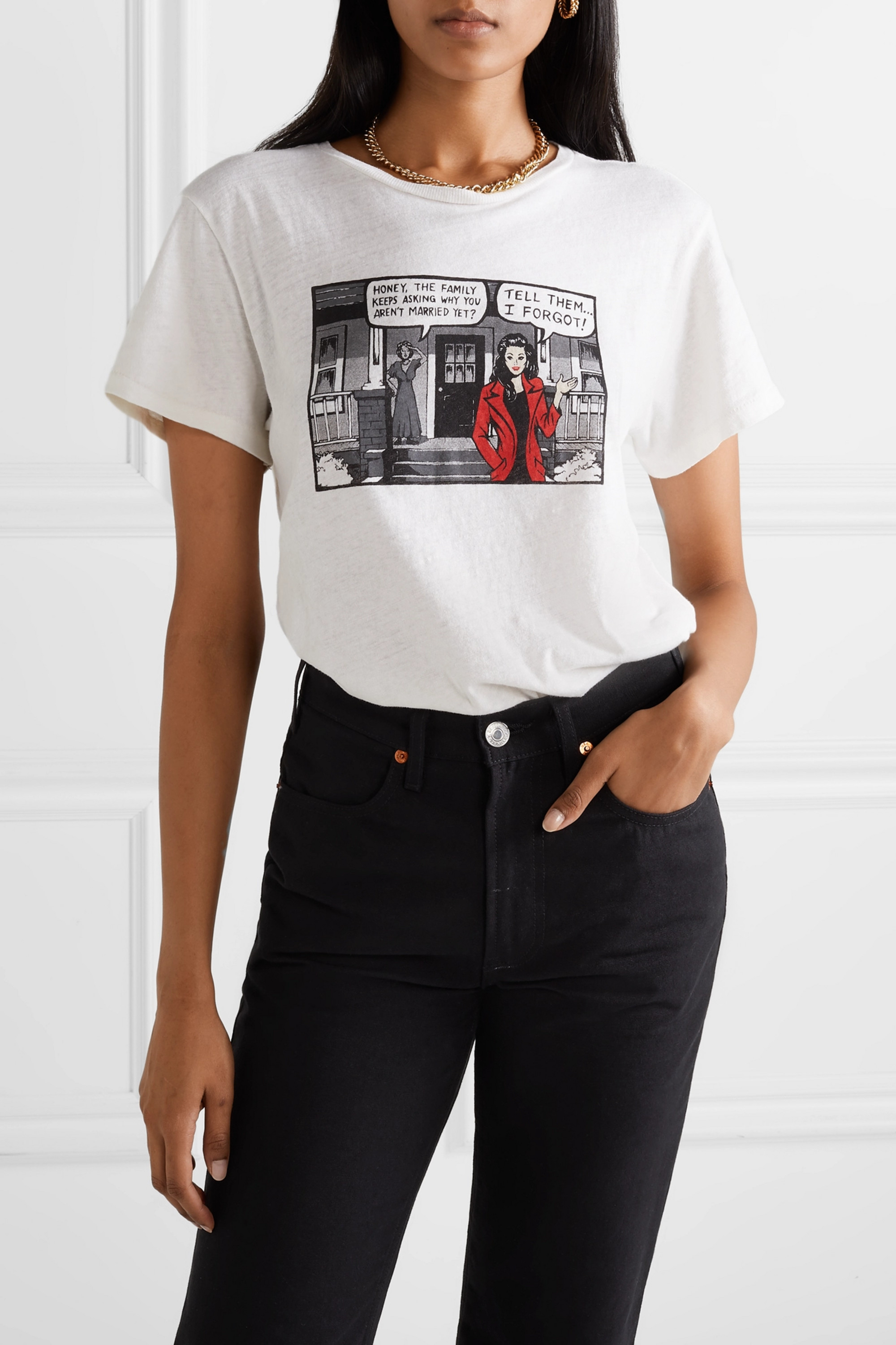 RE/DONE + Hanes Classic printed cotton-jersey T-shirt