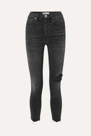 RE/DONE Power Stretch High-Rise Ankle Crop distressed skinny jeans