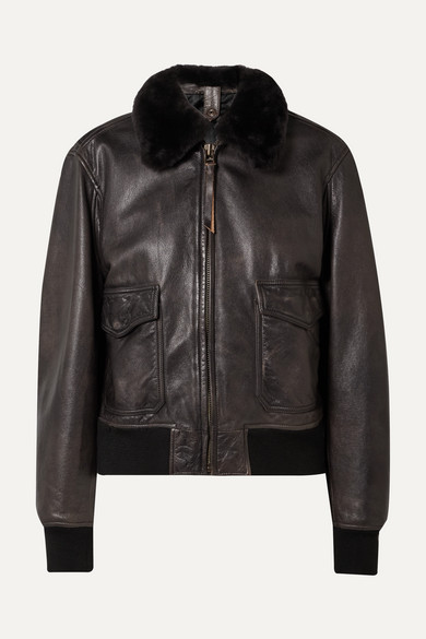 Re/done Jackets 40S SHEARLING-TRIMMED LEATHER JACKET