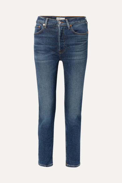 Re/done Jeans COMFORT STRETCH HIGH-RISE ANKLE CROP SKINNY JEANS