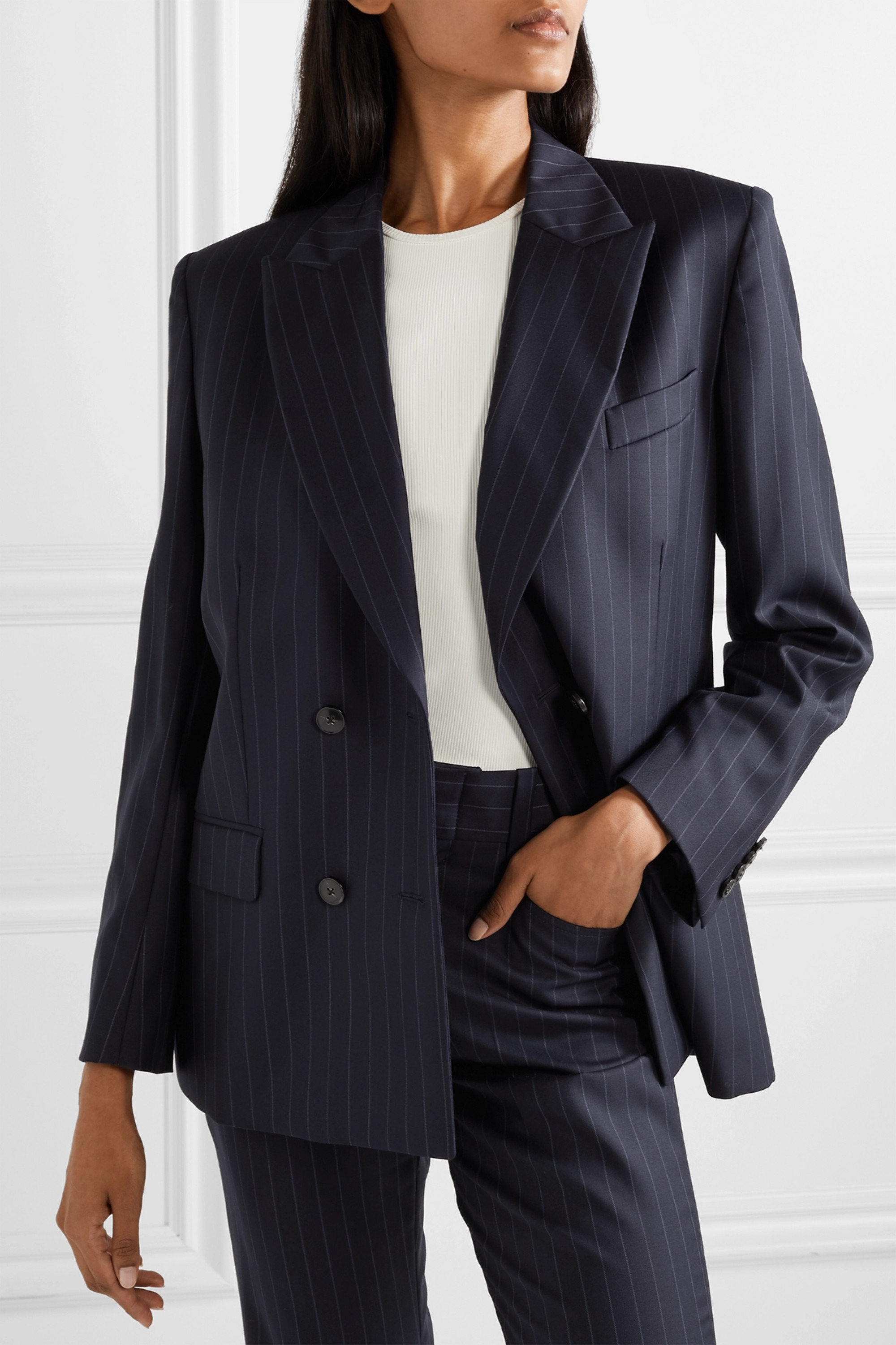 RE/DONE 70s double-breasted pinstriped wool blazer