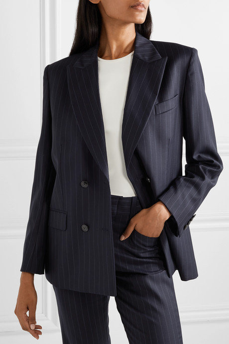 70s double-breasted pinstriped wool blazer